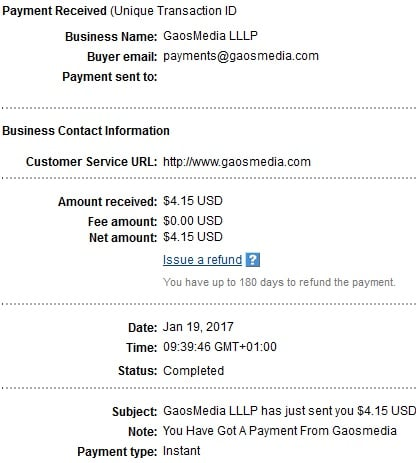 1º Pago de Gigapoint.gaosmedia ( $4,15 ) Gigapointpayment