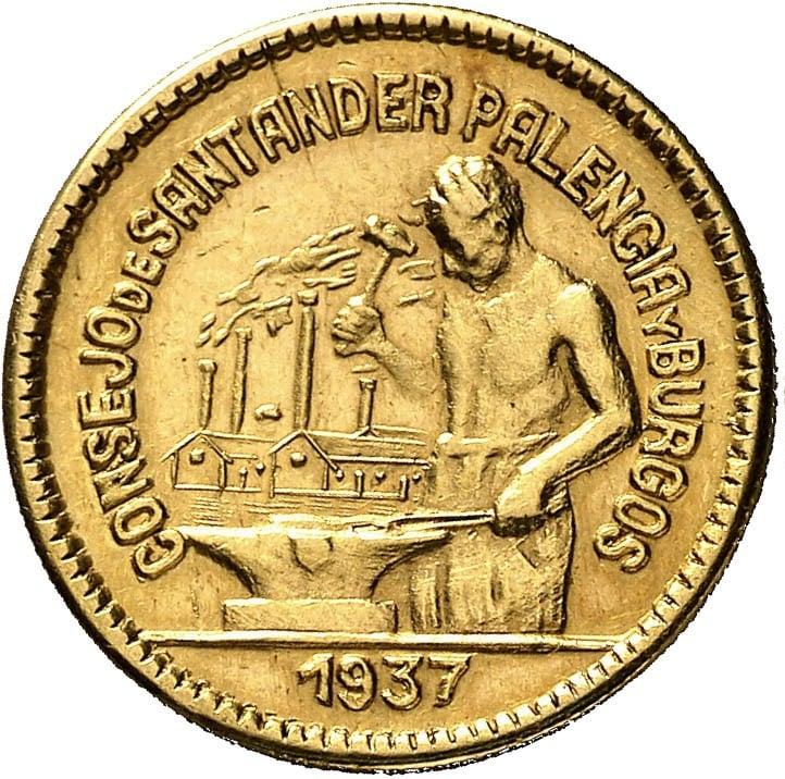 Prueba de oro de los 50 Cts. del Consejo de Santander, Palencia y  Burgos 0719a