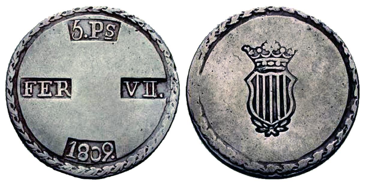 La progesion de la peseta y su decadencia. 1809_5ptas_tarragona