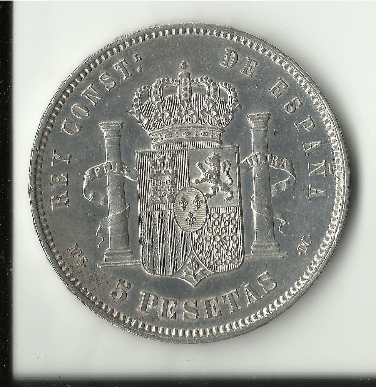 5 pesetas 1884 *18*84. Alfonso -XII. 5_ptas_1884_ebc_anv