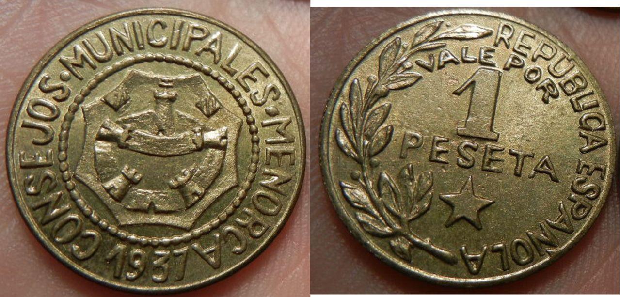 1 Peseta. Consejos Municipales de Menorca (Baleares). 1937. SC. 878787878787yyg