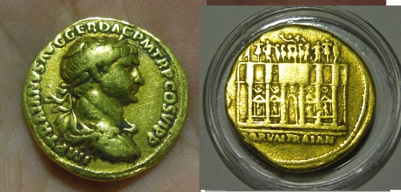 Áureo de Trajano. FORVM TRAIAN. Roma. (Ayuda para determinar su año correcto) Pruebaroritirti0t0909099897978