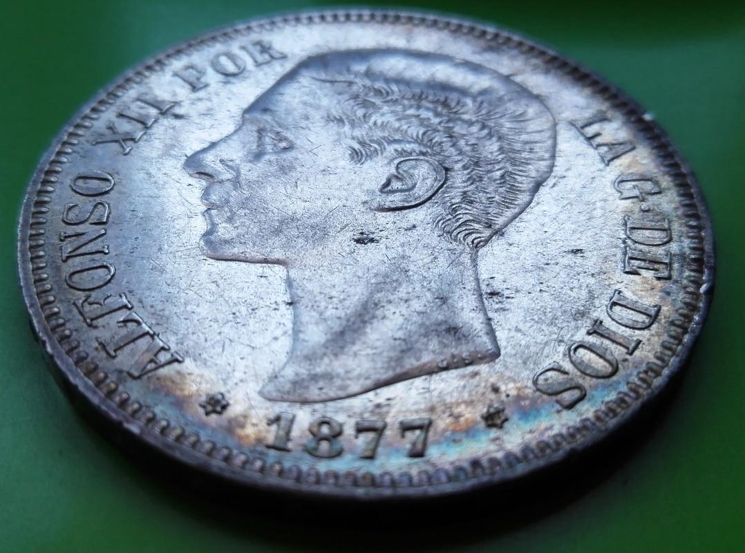 5 pesetas 1877. Alfonso XII. DE M 5_pts_1877_3