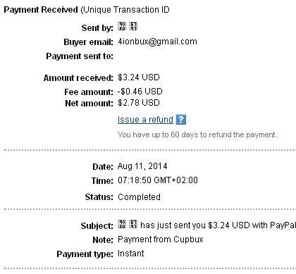 1º Pago de Cupbux ( $3,24 ) Cupbuxpayment