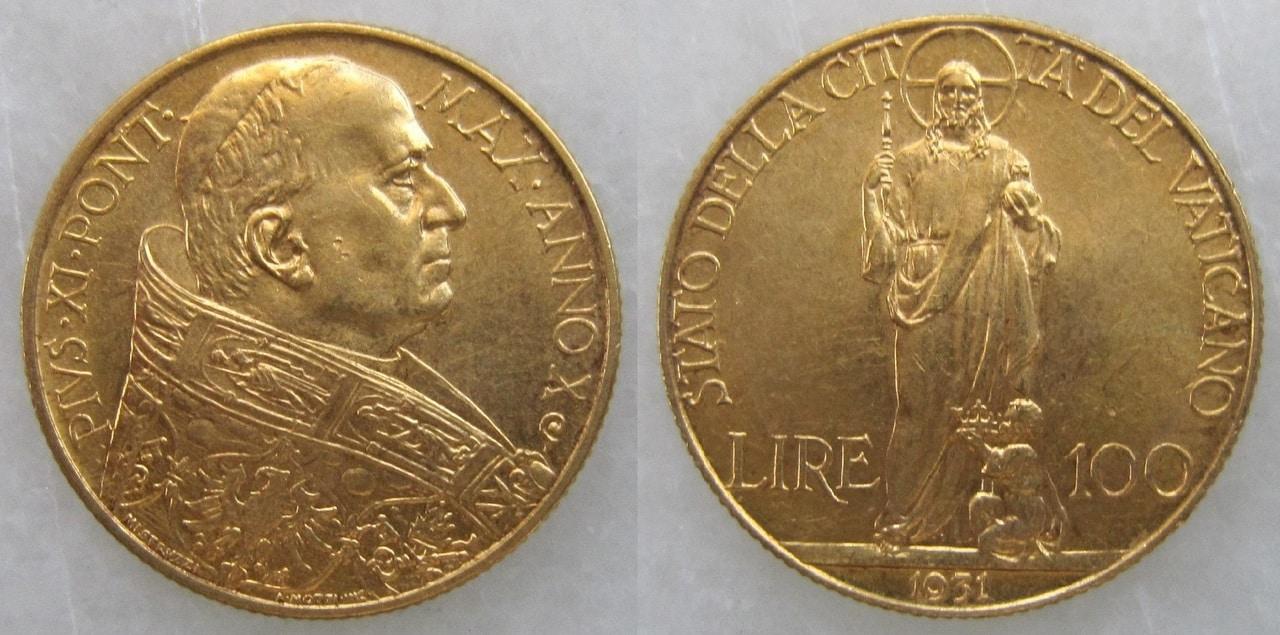 100 liras. Estado de la Ciudad del Vaticano 1931 100_Liras_Vaticano_1931