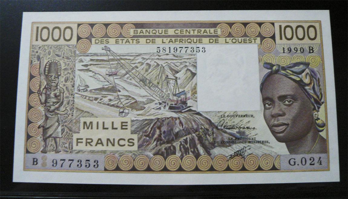 1000 Francos Estados del África del Oeste, 1990. Was207bi