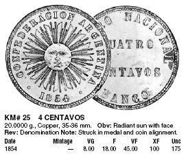Cuatro centavos. Confederación Argentina. 1854. 4c_Confederaci_n_Argentina