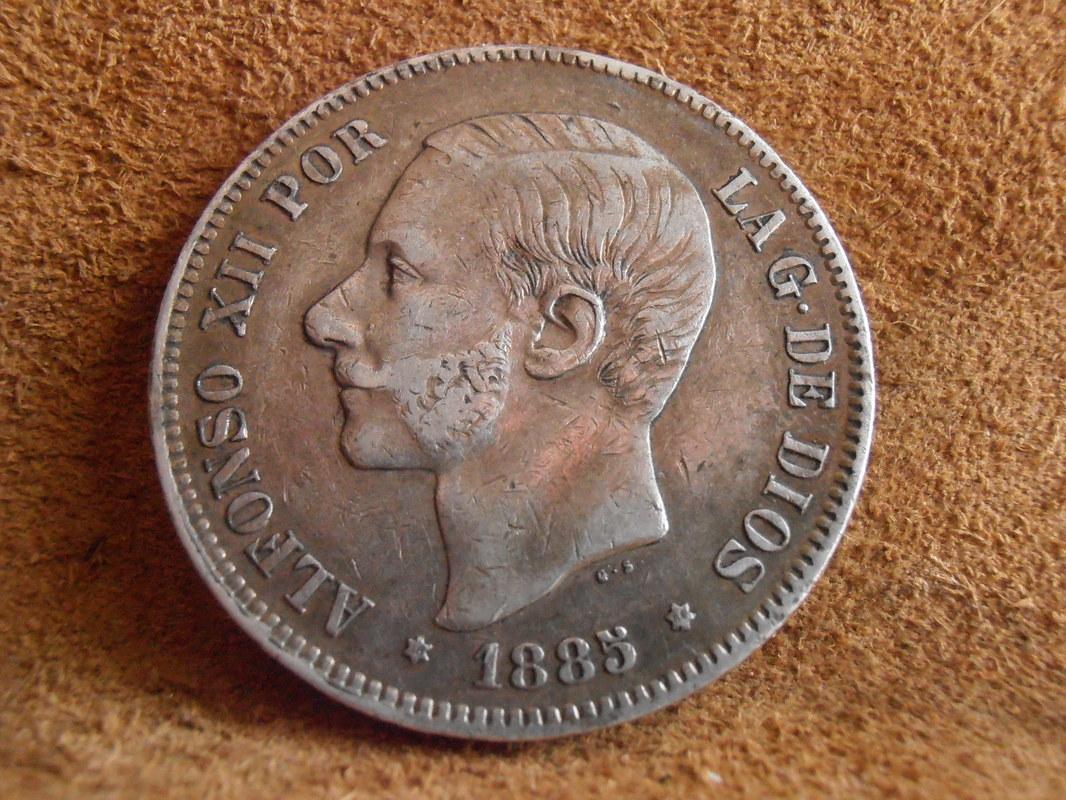 5 Pesetas 1885 (*18-86). Alfonso XII P4010008