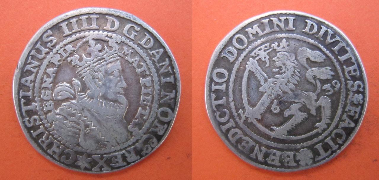 1/2 Speciedaler 1638. Dinamarca. Christianus IIII Speciedaler_1639_Dinamarca