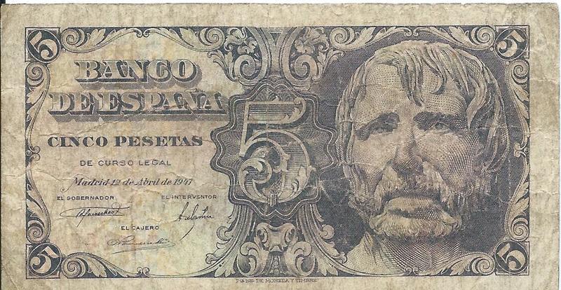 5 Pesetas 1947 (Séneca) Image