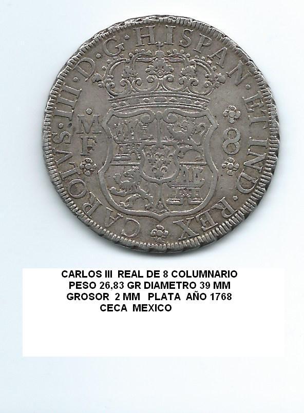8 reales de Carlos III año 1768 Image