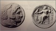 Tetradracma de Alejandro III de Macedonia. AΛEXANΔPOY. Del_libro