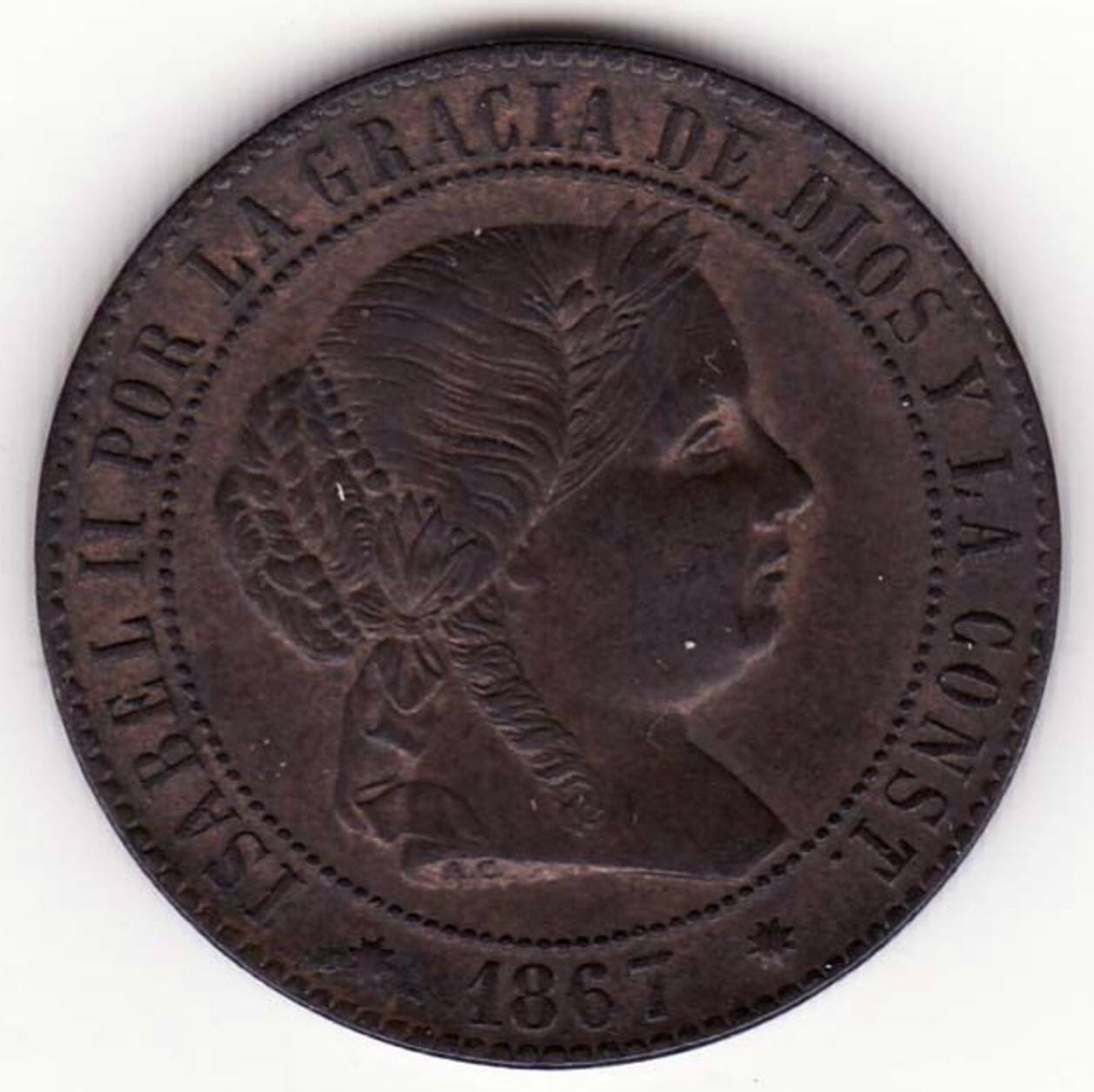 2 1/2 Céntimos de escudo 1867. Isabel II. Barcelona. Dedicada a Javi. Image
