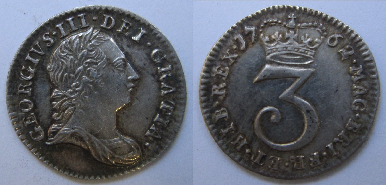 3 Penny de Jorge III de Inglaterra. 1762 3_peniques_Jorge_III_Inglaterra_1762