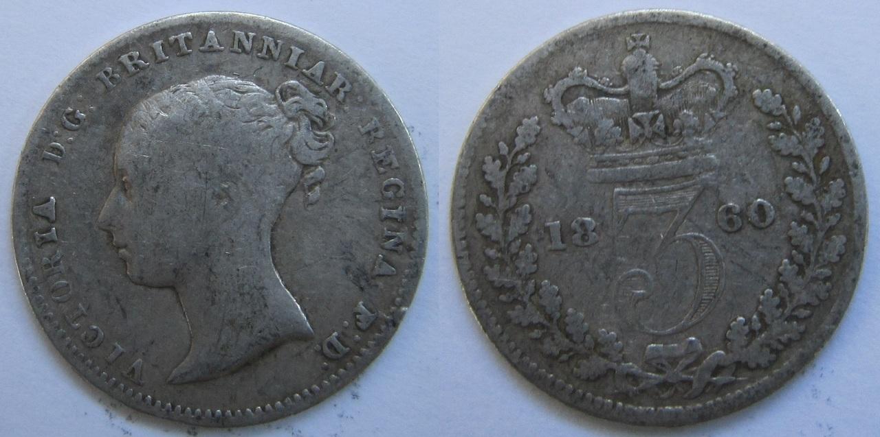 3 Pence.  Victoria de  Gran Bretaña. 1860 3_peniques_1860_Gran_Breta_a