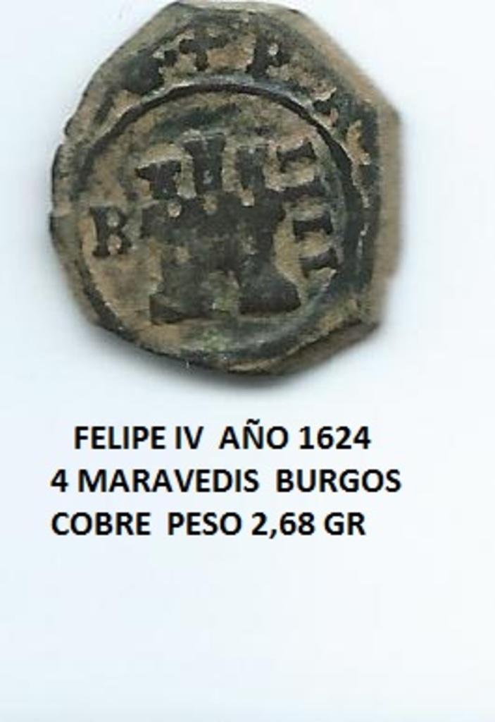 4 maravedís 1624 Burgos, de Felipe IV Image