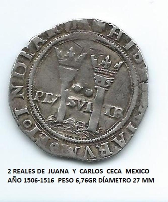 2 reales de Juana y Carlos I, México.   Image