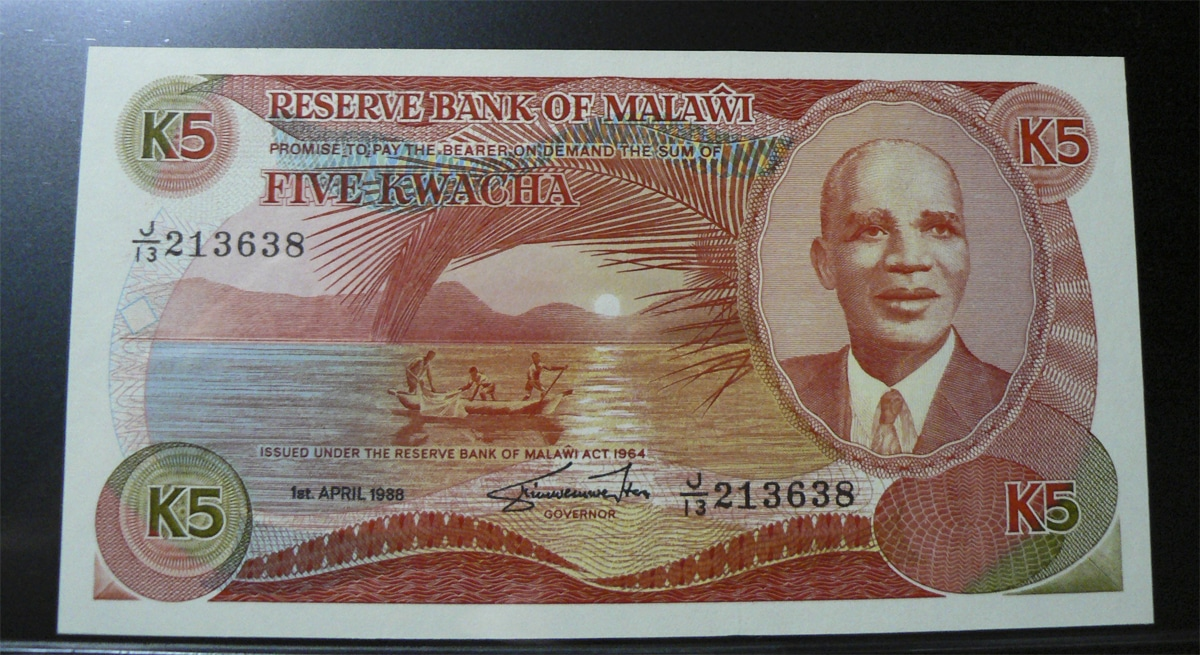 5 Kwacha Malawi, 1988. Mlw20b