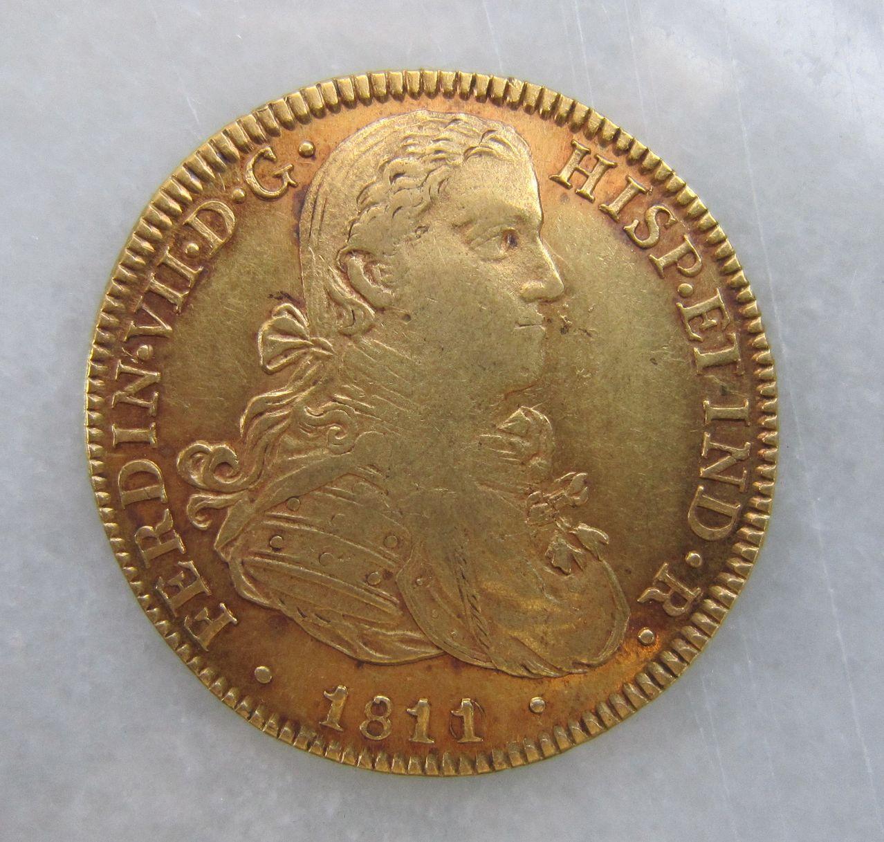 8 escudos 1811 (resello sobre 1810). México. Fernando VII 8_escudos_M_xico_1811_Fernando_VII_anv