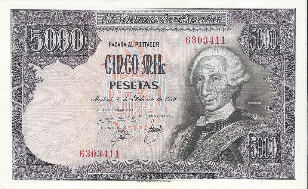 5000 pesetas Carlos III Image