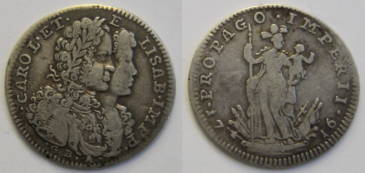 20 Grana. Carlos VI e Isabel Cristina de Italia. Nápoles. 1716 20_grana_N_poles_1716