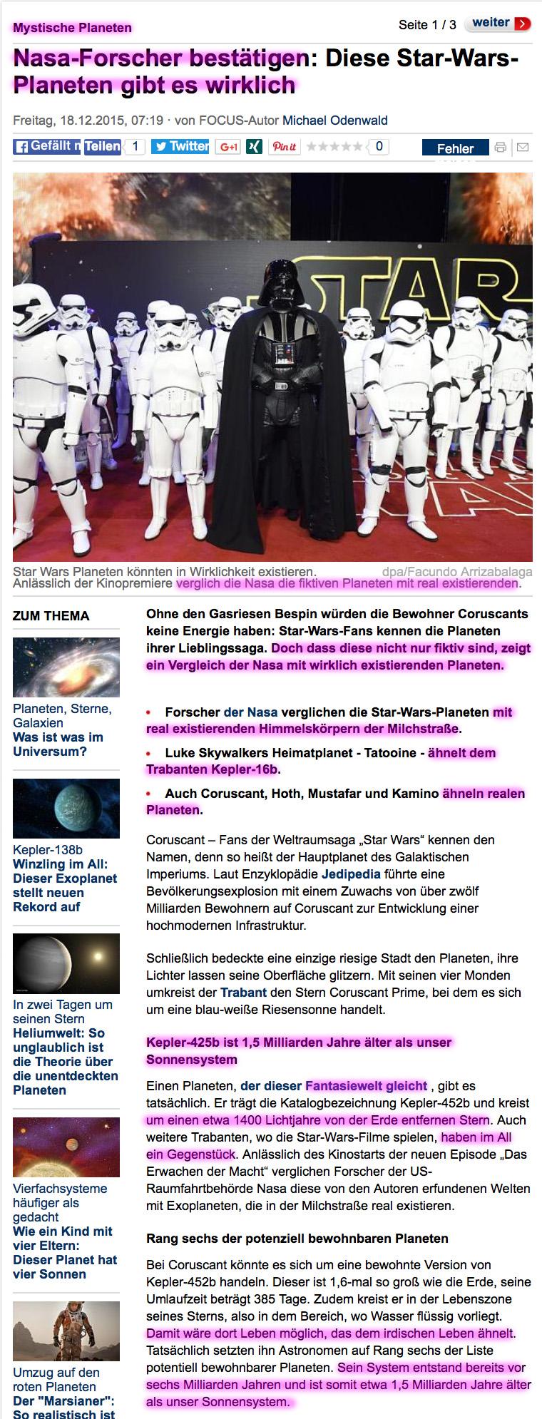 Die Erde, in der wir leben und der Raum, der die Welt ist - Seite 18 Starwars