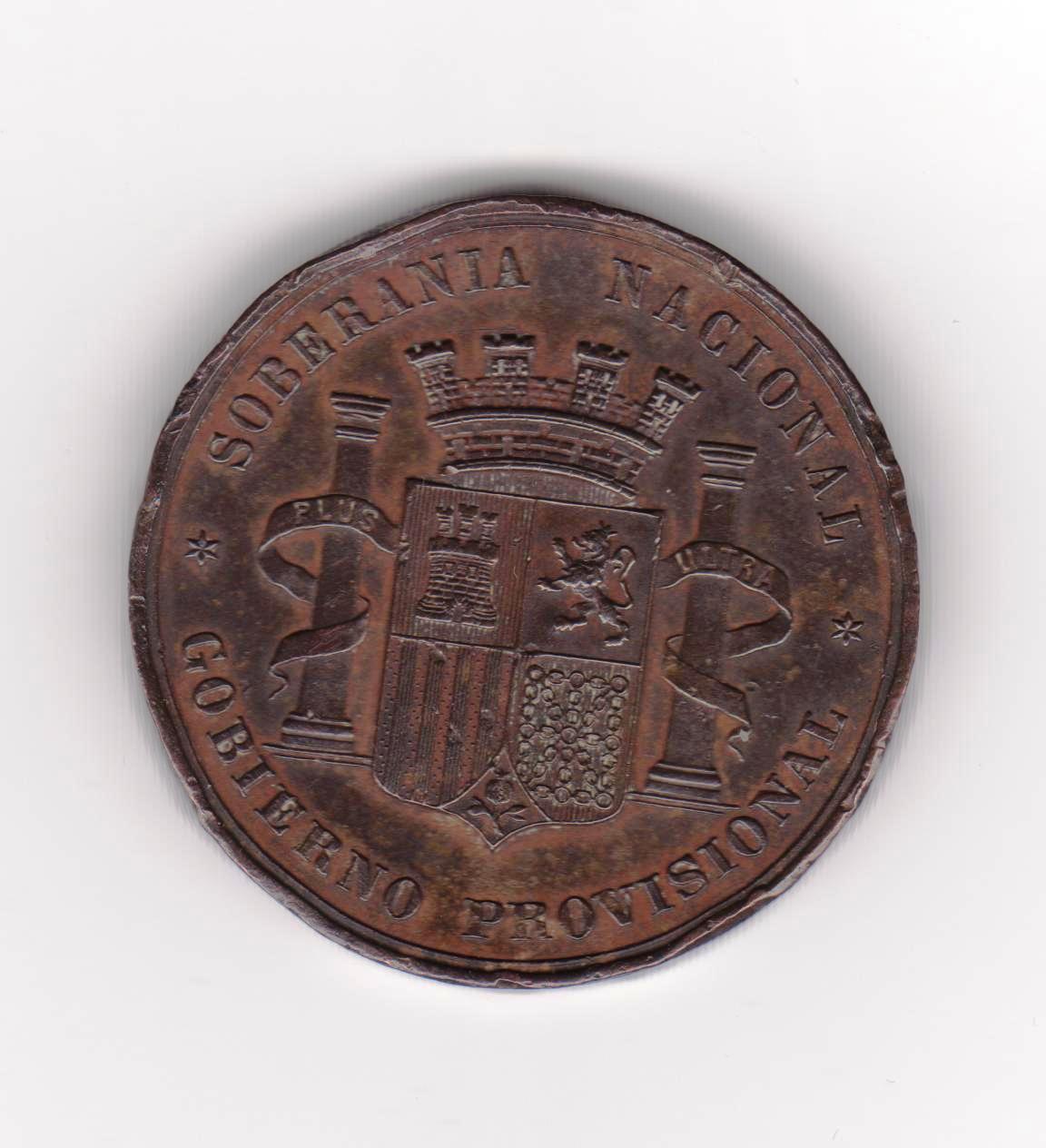 Prueba en cobre 1868, moneda de 5 pesstas 1869 Medalla_1868_001