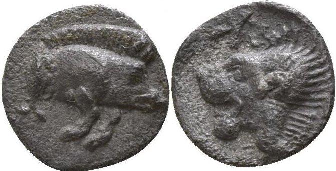 Hemiobolo de Kyzicos (jabali hacia la derecha) 480-450 a.C. 233