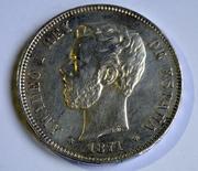 5 pesetas 1871 (*18-74). Amadeo I Estrella_74_a
