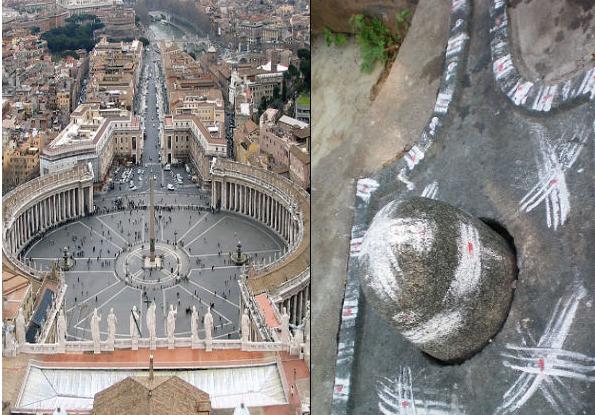 siége du Vatican : siége phallique = shiva linga Phallus