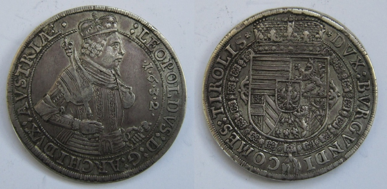 1 Thaler.  Archiduque Leopoldo de Austria. 1632 1_Thaler_Leopoldo_Tirol_1632