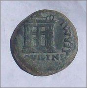 As de Emerita Augusta. Por Tiberio (doble busto repintado). Image
