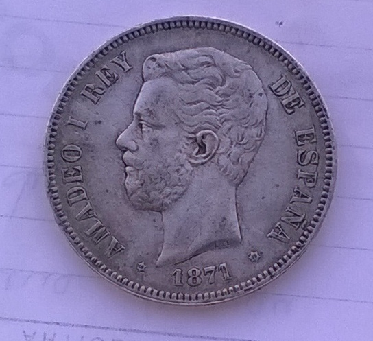 5 pesetas 1871 *75, Amadeo I WP_20150103_004