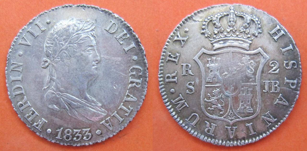 2 Reales 1833. Fernando VII. Sevilla. 2_reales_1833_Sevilla_Fernando_VII