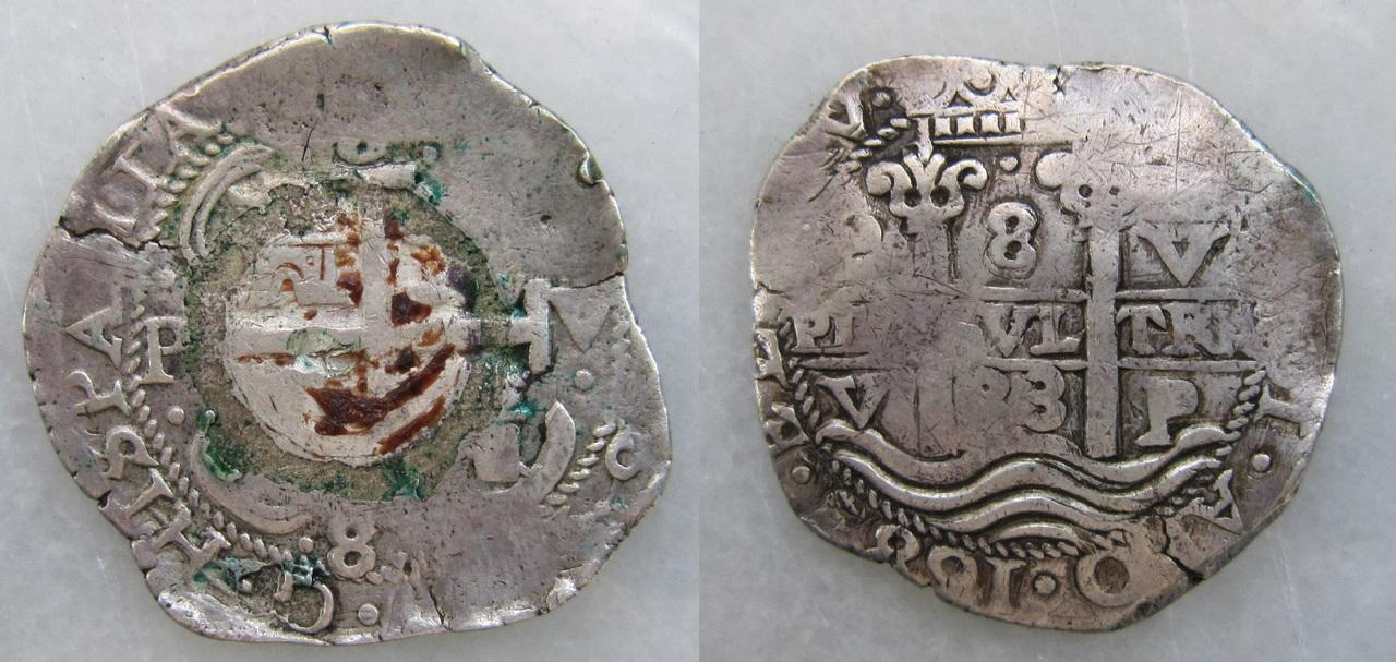 8 Reales macuquinos de Carlos II de 1683 ceca Potosi. 8_reales_macuquinos_1683_Potos