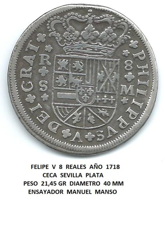 8 reales de Felipe V de 1718 de Sevilla Image