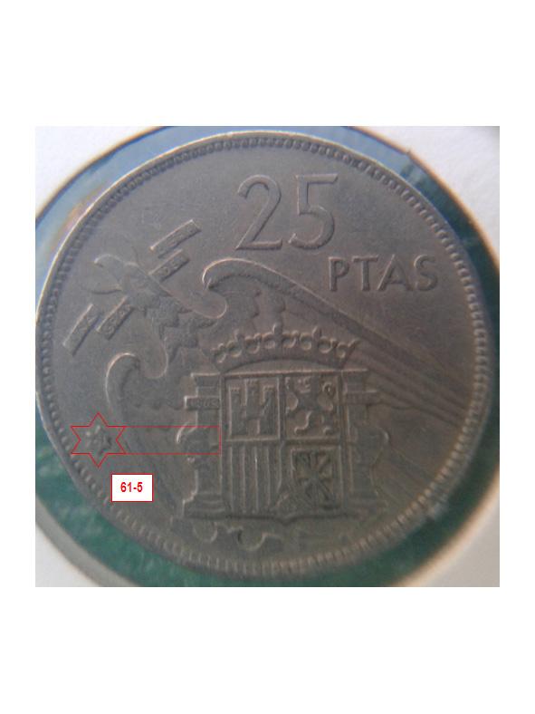 Geometría de las estrellas de las monedas de 25 pesetas 1957* 61_5_E