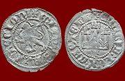 Dinero noven de Enrique II de Castilla 1369-1379 Sevilla. Prados_Enrique_II_Noven_de_Toledo