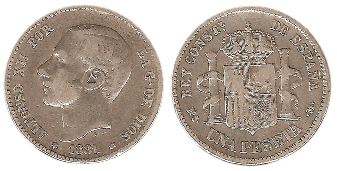 La progesion de la peseta y su decadencia. 1_pts_1881_1