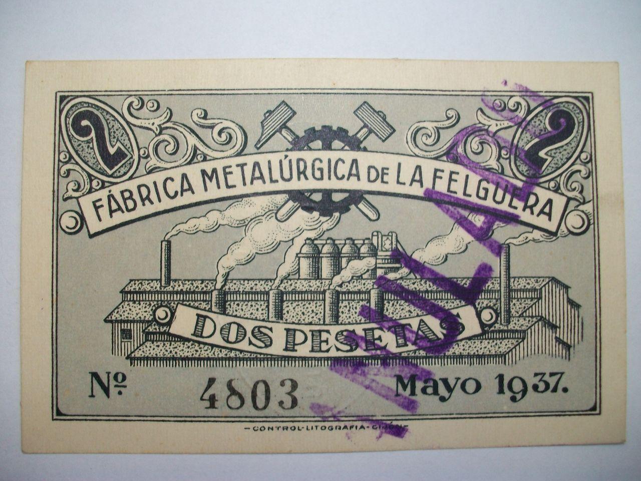 2 Ptas. Fábrica Metalúrgica de La Felguera. Marzo 1937. Anulado 100_1598
