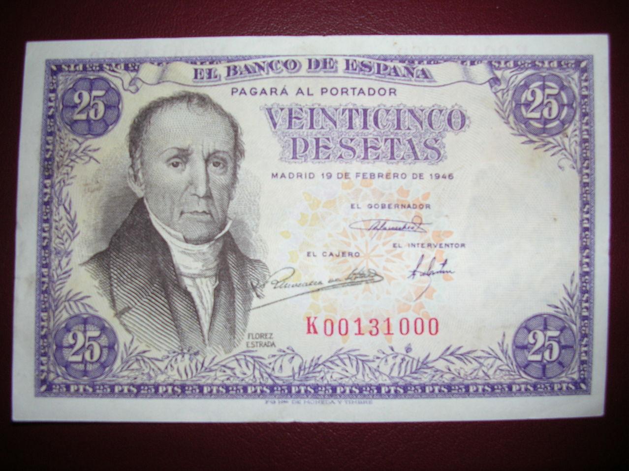 25 Pesetas 1946 (Serie K - Florez Estrada) 25ptas1946ska
