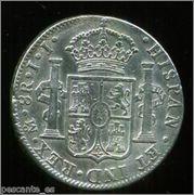 Moneda de plata de España, reinado de Fernando VII, valor facial 8 reales (26,83gr), emisión 1821, ceca MEJICO, ensayadores JJ. 35_2