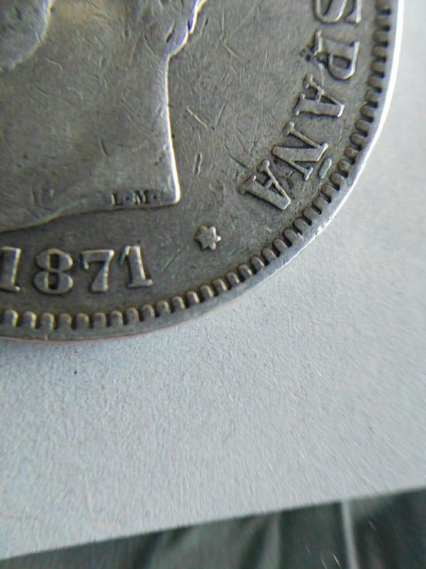 5 pesetas 1871 (*18-73). Amadeo I Estrella733