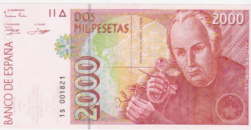 2000 Pesetas 1992 (Serie 1S - número bajo) 2000_pesetas_1992_serie_1_S_n_1821