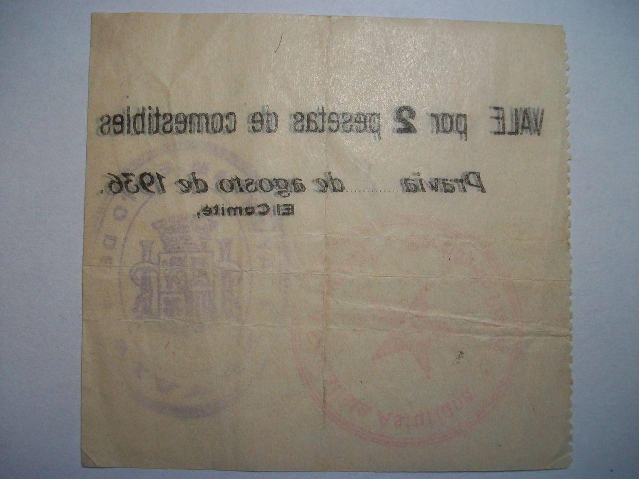 Vale de 2 Ptas. Comité de guerra de Pravia(Asturias). Agosto de 1936 100_1820