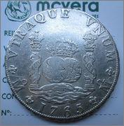 8 reales de 1765, Columnario. Carlos III, México 1188