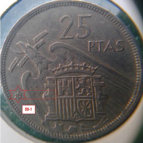 Geometría de las estrellas de las monedas de 25 pesetas 1957* 59_1_E