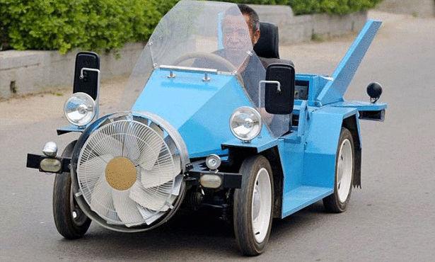 صيني يبتكر سيارة تعمل بطاقة الرياح Large