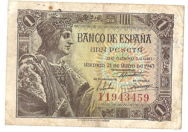 billete 1 peseta 1943 Image