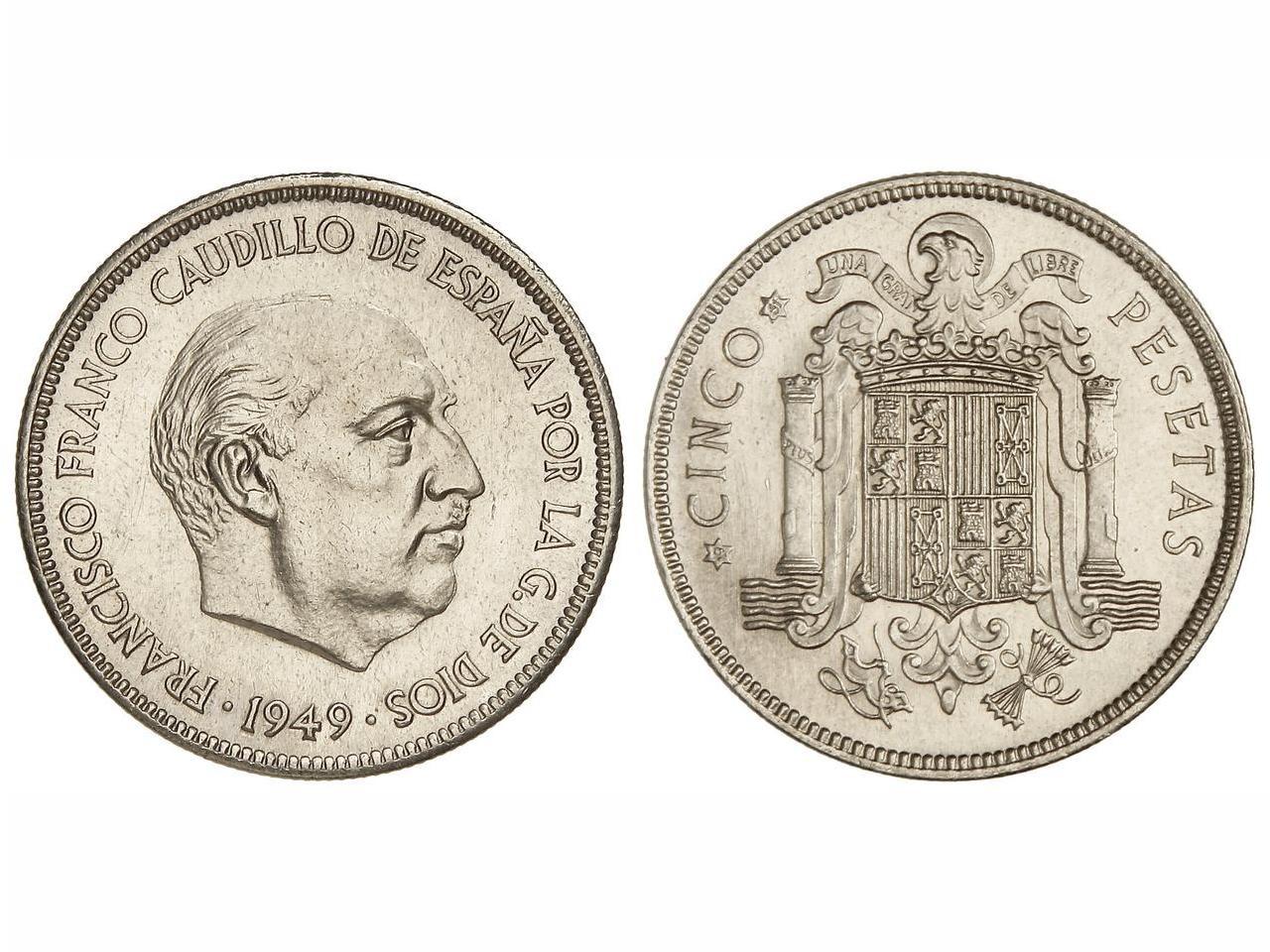 Estado Español 5 Pesetas 1949*51  Image